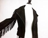 90's does 70's Motorcycle Leather Full Fringe Jacket // S