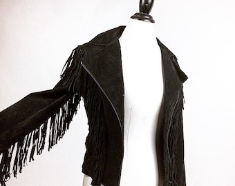 90's does 70's Motorcycle Leather Full Fringe Jacket // S