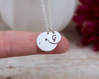 Personalized Aries Constellation Necklace - Aries Star Sign Necklace in Sterling Silver - Hand Stamped Initial Necklace
