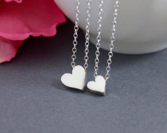 Sterling Silver Heart Necklace - Mother Daughter Heart Necklace Set - Mother's Day Gift