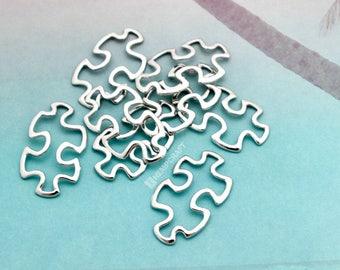 Puzzle Piece Connectors, 8pc Platinum Tone Charms, 30x18mm