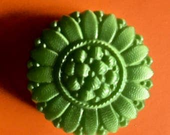 6 Antique Czech Glass Buttons in Bright Green for Sewing and Crafting