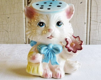 Vintage Cat Figurine with Polka Dot Hat and Yellow Purse - Anthropomorphic  - Mid-Century 1960s - Hand painted Ceramic - Made in Japan