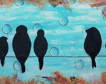 BIRDS on a WIRE, Bird, Family, Home decor, Turquoise, Black, Abstract, mixed media art, mixed media print, mixed media artist, Alicia  Hayes