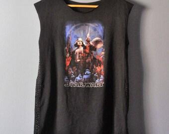 Deconstructed STAR WARS T Shirt/Upcycled Tunic Tee/Japanese Boro/Unisex