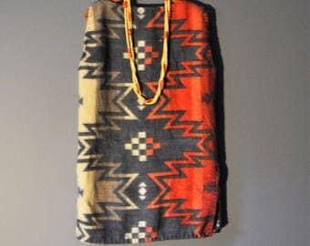 Upcycled Boho Fleece Tunic Vest Top/Southwestern Style Fleece Tunic/Sashiko Stitching