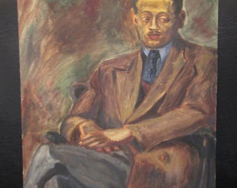 Original Signed Oil Painting on Canvas Panel - Unframed 1930s 40s Portrait of Unknown Seated Black Male in Business - D.W. Brown Artist