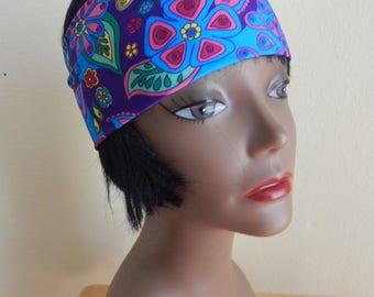 womens hippie headband, festival, workout, hippie, floral print, hair