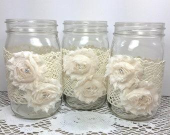 12 Quart Size Shabby Chic Mason Jars Wraps, Baby Shower Decor, Mason Jar, Wedding Decor, Party Decor, Wedding Table Decor, Mason Jar Wraps