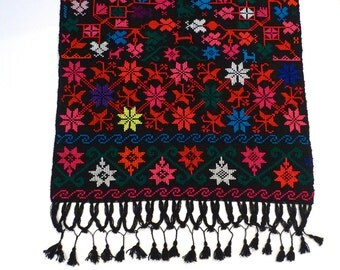 Embroidered Fringed Shawl Vintage Mexican Black Wrap with Flowers and Animals Butterfly Bird Jewel tone Cross Stitch Mexico Boho Gypsy 1970s