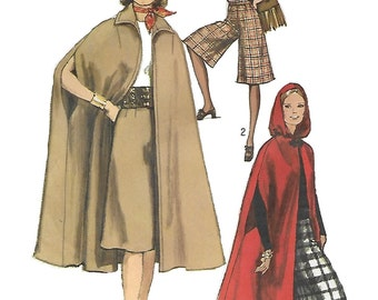 Simplicity 9249 Misses 70s Cape in Two Lengths and Gaucho Pants Sewing Pattern Size 14 Bust 36