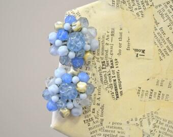 1950s West German Blue Cluster Bead Clip Earrings