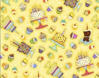 Cakes fabric, cupcakes fabric, Let's Celebrate sweet cakes fabric, 100% cotton fabric for general arts and crafts and all sewing projects