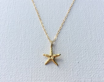 Starfish Necklace, Gold Starfish Charm Necklace, Sea Star Necklace, 23k Gold Vermeil Starfish Necklace, Personalized Jewelry,  Indira Boheme