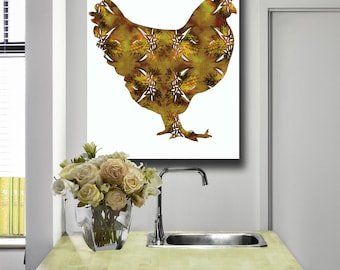painting of chicken, Modern Kitchen Art,  silhouette art, modern farm animal, HEN print, 8x10 or custom size, order your color