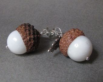 White Agate Real Acorn Silver Earrings with Oak Leaves