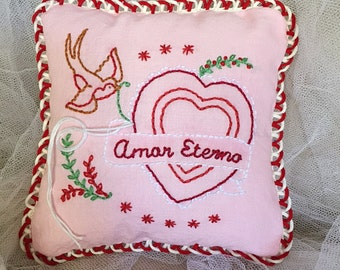 Mini Pink Amor Eterno Love Heart & Sparrow Hand Embroidered Folk Art Ring Pillow for Wedding Gift