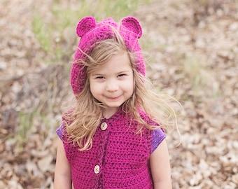 crochet patterns, crochet pattern, teddy vest pattern, hooded vest crochet pattern, patterns for girls, girl crochet pattern