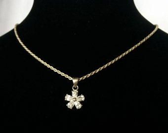Sterling Rope Chain Necklace Crystal Flower, Crystal Flower Pendant, Sterling Silver Rope Chain