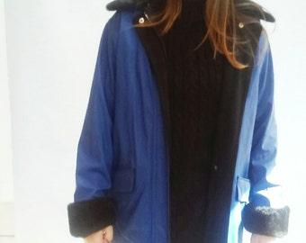 Vinyl Raincoat, PVC Coat,  Duster Coat,  Fur collar cuffs medium