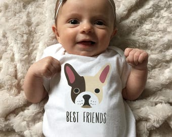 Baby clothes, French Bulldog baby bodysuit for baby girl or baby boy, baby shower gift