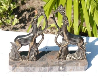 Two Vintage French Bookends - Deer eating grapes - Art Deco Style - Brass - Marble - Heavy Design - Made in France - Gift Ideas - Home Decor