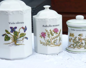 Set of 5 French Vintage Porcelain Floral Herbs and Spice Jars With Lid - Floral Pattern - 70s  Floral Canister Set - Home Decor - Gift Ideas