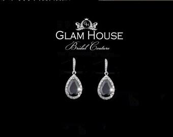 Black Earrings,tear drop earrings,bridesmaid gift,bridesmaid jewelry,onyx earrings,mother of the bride jewelry,prom jewelry,black jewelry