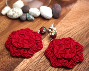 925 Silver Earrings, by Chinese Knot (Celtic Knot) with Cloisonne Beads - Red