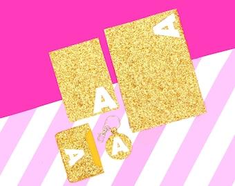 Gold Glitter Initial Clutch Bag Passport Cover Keychain Card Holder Christmas Gift Idea