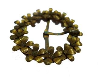 Antique Victorian Gold Washed Floral Wreath Ladies Belt Buckle #2367
