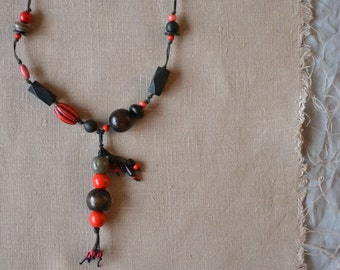 black and red beaded necklace - large beads boho necklace - chunky artisan boho ethnic gypsy necklace - mixed beads - gift for her under 50