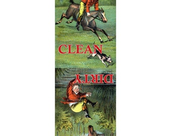 Clean Dirty Dishwasher Magnet - Fox Hunter on Horse Takes a Fall - Equestrian Gift