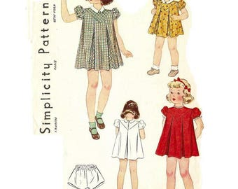 1930s Little Girls Puff Sleeve Dress Pattern, Panties Pattern, Pleated Dress, V Shaped Yoke, Size 2, simplicity 3293, Vintage Sewing Pattern
