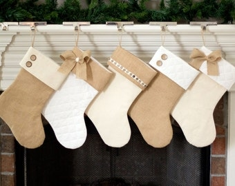 Christmas Stockings. Burlap Christmas Stockings. Natural Burlap, Ivory Cream Quilted Christmas Stockings. 9 styles of Christmas Stockings