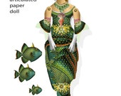 printable Mermaid articulated paper doll download printable project collage sheet