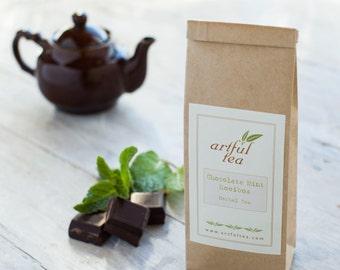 Chocolate Mint Rooibos Tea • 3.5 oz. Kraft Bag • Loose Leaf Herbal Blend