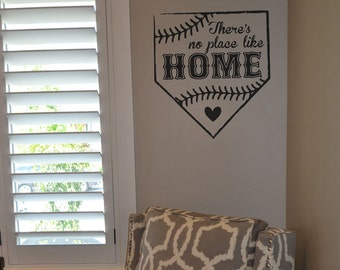 There's no place like home KW1330 vinyl wall lettering sticker decal home decor baseball home base