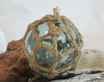 Vintage Japanese GLASS FISHING FLOAT With Unusual Full Original Net.. Moss Green (#59)