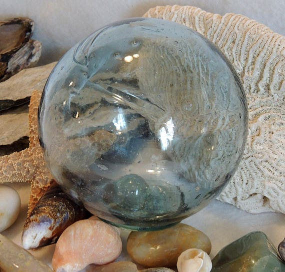 Vintage Japanese GLASS FISHING FLOAT.. Sky Blue, Many Bubbles & Striations (#34)