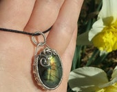 Bridal Jewelry, Labradorite Necklace, Labradorite Pendant in Sterling Silver with Woven Bezel and Swinging Bail