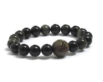 Men Beaded Bracelet Obsidians Mala Beads Buddha in Lotus, Green Sandalwood Wood Bracelet Inspirational Jewelry Gift for Yoga Friend, Teacher