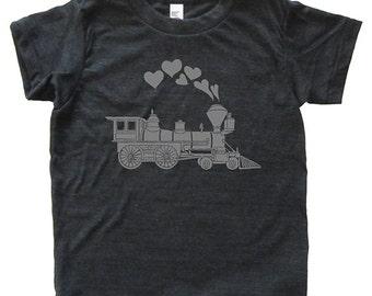 Valentines Day Train Engine Hearts Shirt - Youth Boy TShirt / Super Soft Kids Tee Sizes 2T 4T 6 8 10 12 - Heather Black