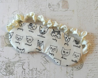 Cat Expressions Sleep Mask // Cotton & Satin Eye Mask, Cat Gift