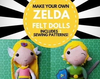 Make your own Link and Princess Zelda dolls! // PDF pattern, instant download // Legend of Zelda
