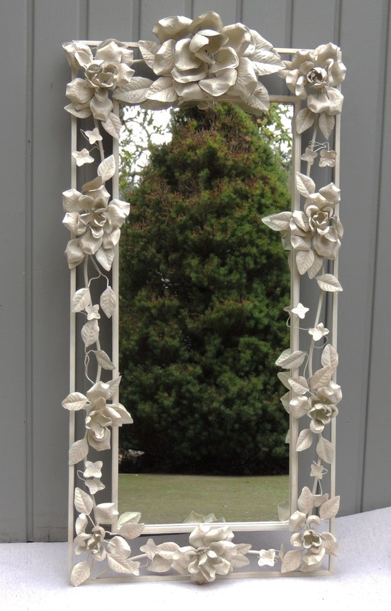 Vintage White Floral Metal Mirror Decorative Wall Mirror