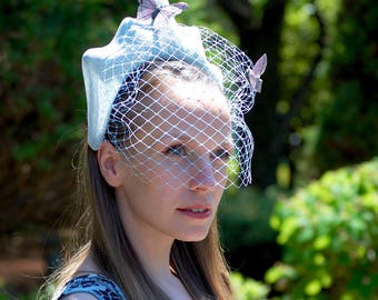 Light Blue Crown Fascinator With Veil And Butterflies