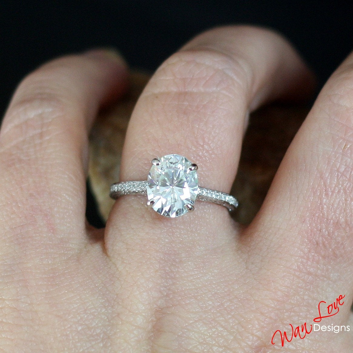 Custom Celebrity White Sapphire & Diamond Oval Engagement Ring