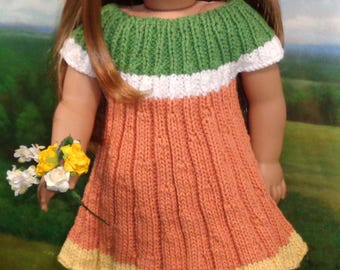 Knit Sweater Dress in Peach with Hat for 18 inch dolls