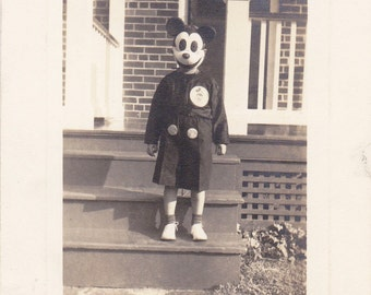Mickey Mouse You're Scaring Me- 1940s Vintage Photograph- Creepy Mickey Mouse Costume- Disney Mask- Found Photo- Vernacular-  Paper Ephemera